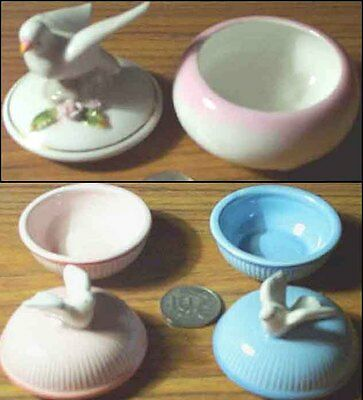 Ornamental Set 3x Porcelain Doves Bird Figurine Jars + Lids Dimensions 5cm - 8cm