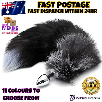 Stainless Steel Anal/Butt Plug Faux Fur Cat Fox Tail Metal Anal Adult Sex Toy