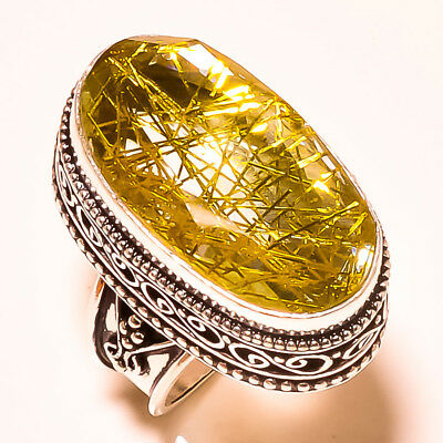 """Stylish Look Golden Rutile With Vintage Design 925 Silver Ring Size -7.75"""""""