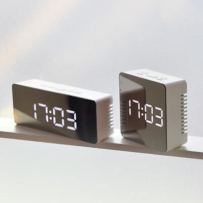 Mirror LED Digital Display Alarm Clock Time Temperature Snooze Night Mode Silver