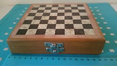 Vintage Wooden Marble Travel Chess Set With Hand Carved Marble Stone Chese Piece