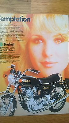 Temptation 1974 Norton 850cc Commando No 24 Vintage Ad Gallery Postcard MN51PC