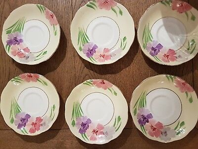 Antique Vintage Roslyn China Tea Saucers (Set of Six) Hand Painted - 1946-1950