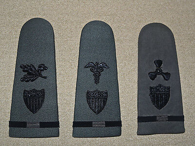 Vintage Rare Gray WW2 US Coast Guard Shoulder Boards Lot of 3