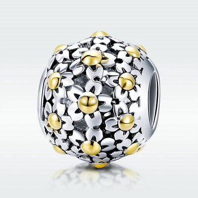 Golden Flower 925 Sterling Silver Bead Charm For Stylish Bracelet Jewelry Chain