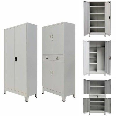Metal Locker Cabinet Office Storage Cupboard Shelves Wardrobe Filing Chest Unit