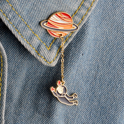 Cute Planet Astronaut Pin Brooch ~ Space Themed Badge Backpack Lapel Pin