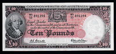 1960 10 POUND NOTE COOMBS/WILSON COMMONWEALTH OF AUSTRALIA aUNC.worth over$1,000