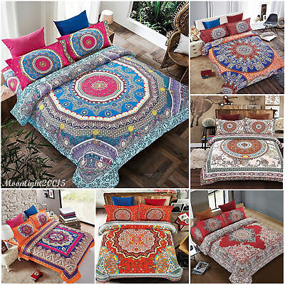 4 Piece Boho Bohemian Mandala Duvet Cover Pillow Case Quilt Bedding Set All Size