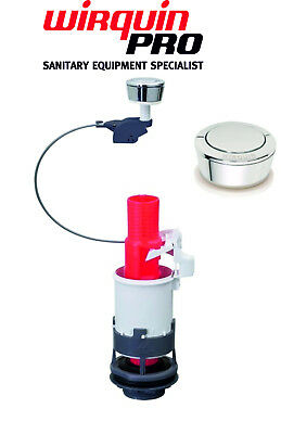 Wirquin Toilet Cistern Flush System Universal Single Pushbutton With Cable WC