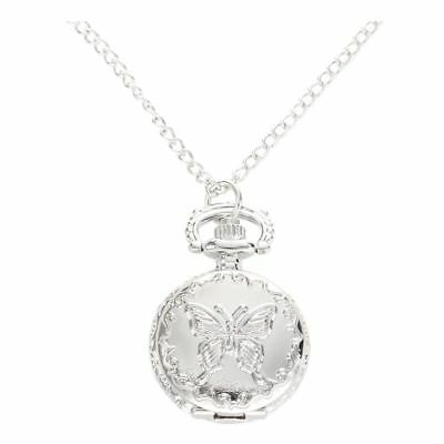 Silver Quartz Butterfly Arabic numerals Pocket Watch with Vintage Necklace E9M2