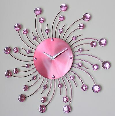 44Cm Pink Dial Diamante Jeweled Beaded Sunburst Metal Swirl Wire Wall Clock