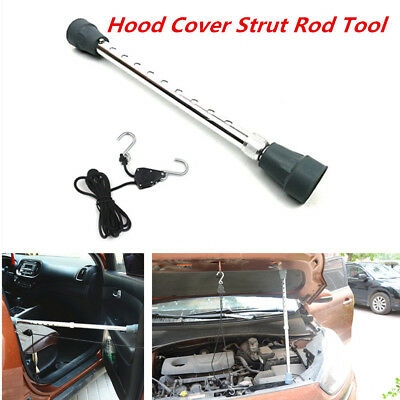 1x Aluminum Car Door Engine Hood Cover Prop Rod Arm Fixed Rope Repair Strut Tool