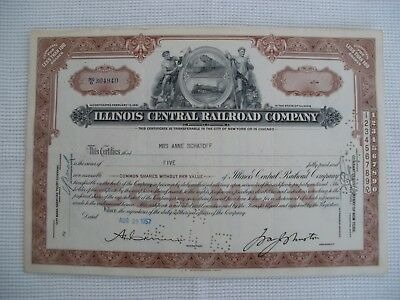 Illinois Central Railroad Company Cancelled Stock - less then 100 shares