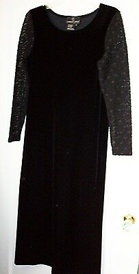 b980eeccec3 CAROLE LITTLE BLACK Velvet Lace Evening Dress Stretch Small Petite 4 ...