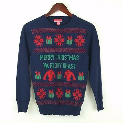 Target Youth Unisex Ugly Christmas Sweater L 12-14 Blue Ya Filthy Beast FN2
