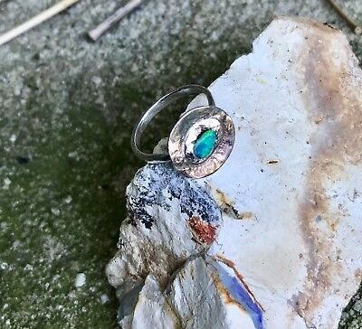 Handmade Vivid Greenish Blue Solid Opal Circle of Life Ring Sterling Silver