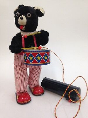 Tin Toy Drumming Bear made in Japan by Alps