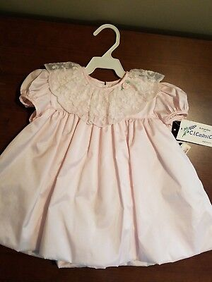 C.I.Castro & Co.Vintage Girl's Blush Pink Bubble Dress Lace Collar 24 MO w/Tags
