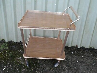 Clean RETRO Vintage BRASS Metal and WOOD Hostess TROLLEY with WHEELS Tray 1960s