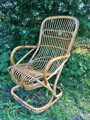 Vintage 60s 70s Mid Century Large Bamboo Rattan Cane Wicker Arm Chair Boho Tiki