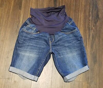 Women's Old Navy Maternity Denim Jean Shorts ~ Blue ~ Sz 4 ~ Over Belly
