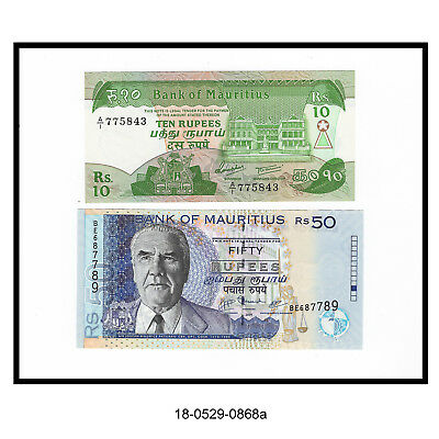 1985 Ten Rupees & 2009 Fifty Rupees Mauritius Notes