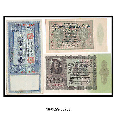 Lot of Three Early German Bank Notes