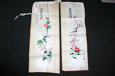2 Pcs Chinese Silk Embroidery Birds Flowers On Silk Scroll Piece