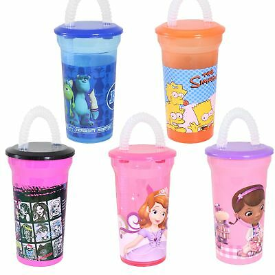 Disney/Character Plastic Drinking Cup with Bendy Straw - Choose Design