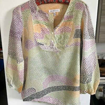 Vintage See By Chloe pretty folk print collarless blouse supersoft cotton boho