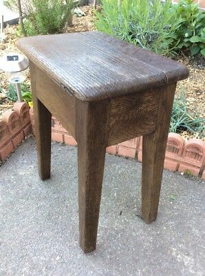 Antique Early Solid Oak Joint Stool Dowel & Peg H45 W25 L35 Cms