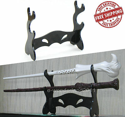 Two Black Acrylic Wizarding Wand Display Stand For Wizard Harry Potte