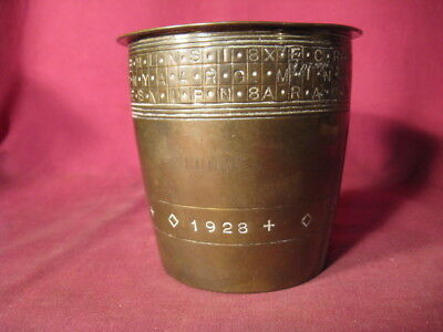 Unusual Dated 1928 Bronze Or Brass Beaker w Letter & Dot Encoded Bands At Rim