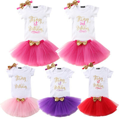 Baby Girls 1st First Birthday Dress T-Shirts Tutu Skirt Headband Cake Outfit Set