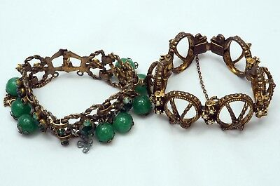Antique Vintage Lot Of 2 Brass or Bronze ? Link Bracelets for Repair or Craft