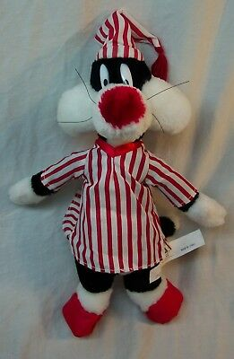 "WB Looney Tunes SYLVESTER CAT IN PAJAMAS 14"" Plush Stuffed Animal TOY"
