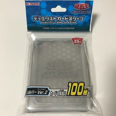 Yugioh Japanese OCG Duelist Card Protector - Clear Silver Ver.2 - 100pcs Sleeves