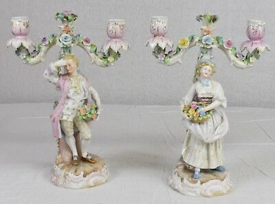 Pair of Meissen Porcelain Figural Candelabras 19th century Male and Female