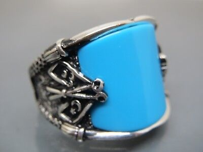 Turkish Handmade Jewelry 925 Sterling Silver Turquoise Stone Men's Ring Sz 10