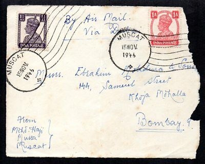 Oman / Muscat 1946 Airmail Cover to Bombay(Front Only) with 2 x Muscat Postmarks