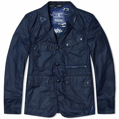 Barbour x White Mountaineering Indigo Waxed Lapel Jacket NWT Size XL *SLIM*