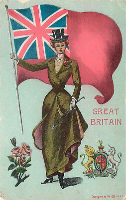 Vintage Postcard British Woman In Native Costume Flag Great Britain Union Jack