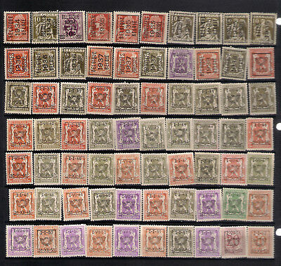 BELGIUM 70precancels all typo UNG(*) 1934-52 occasional faults see scans