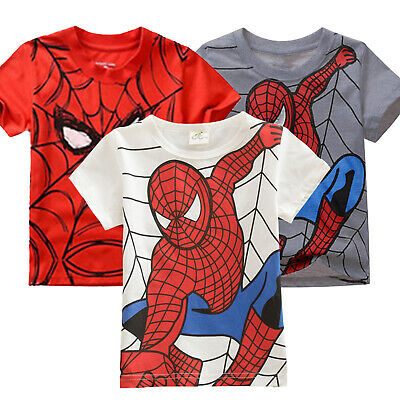Kids Boys Summer Spiderman Short Sleeve T-Shirts Tops Tee Clothes Age 2-7 Years