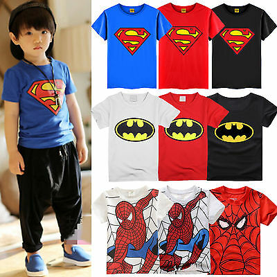 Toddler Kids Boy Short Sleeve Spiderman T-Shirts Cotton Tops Shirts Clothes 2-7Y