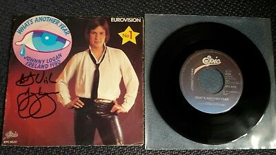 "JOHNNY LOGAN: What's Another Year - 7"" Single 1980 ESC, Coverhülle SIGNIERT"