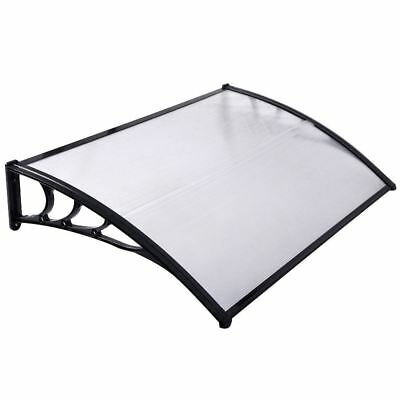 Door Canopy Awning Shelter Roof Front Back Porch Shade Patio Rain Cover Black