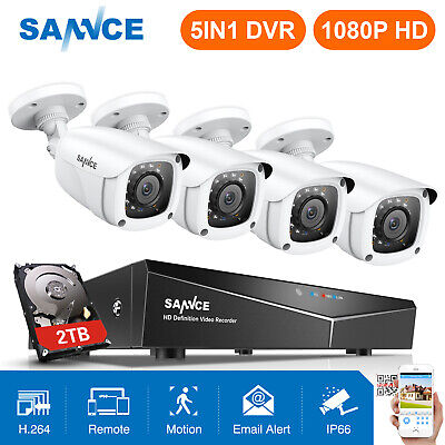 SANNCE 1080P HDMI 4CH DVR 2MP Outdoor CCTV Security Camera System Night Vision