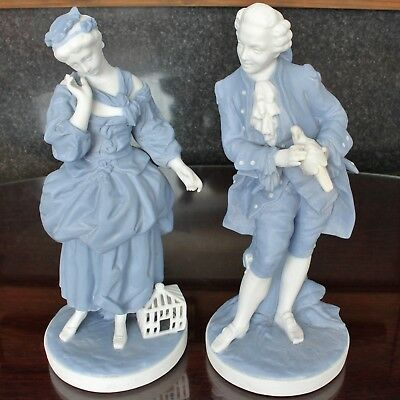 French Blue & White Parian Figurines by Letu & Mauger, Romantic Couple